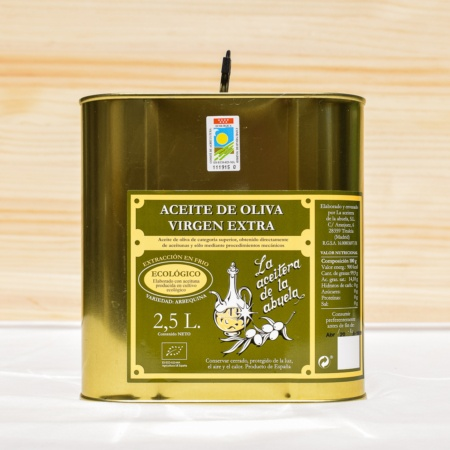 2.5 litre tin of extra virgin olive oil, made from arbequina olives