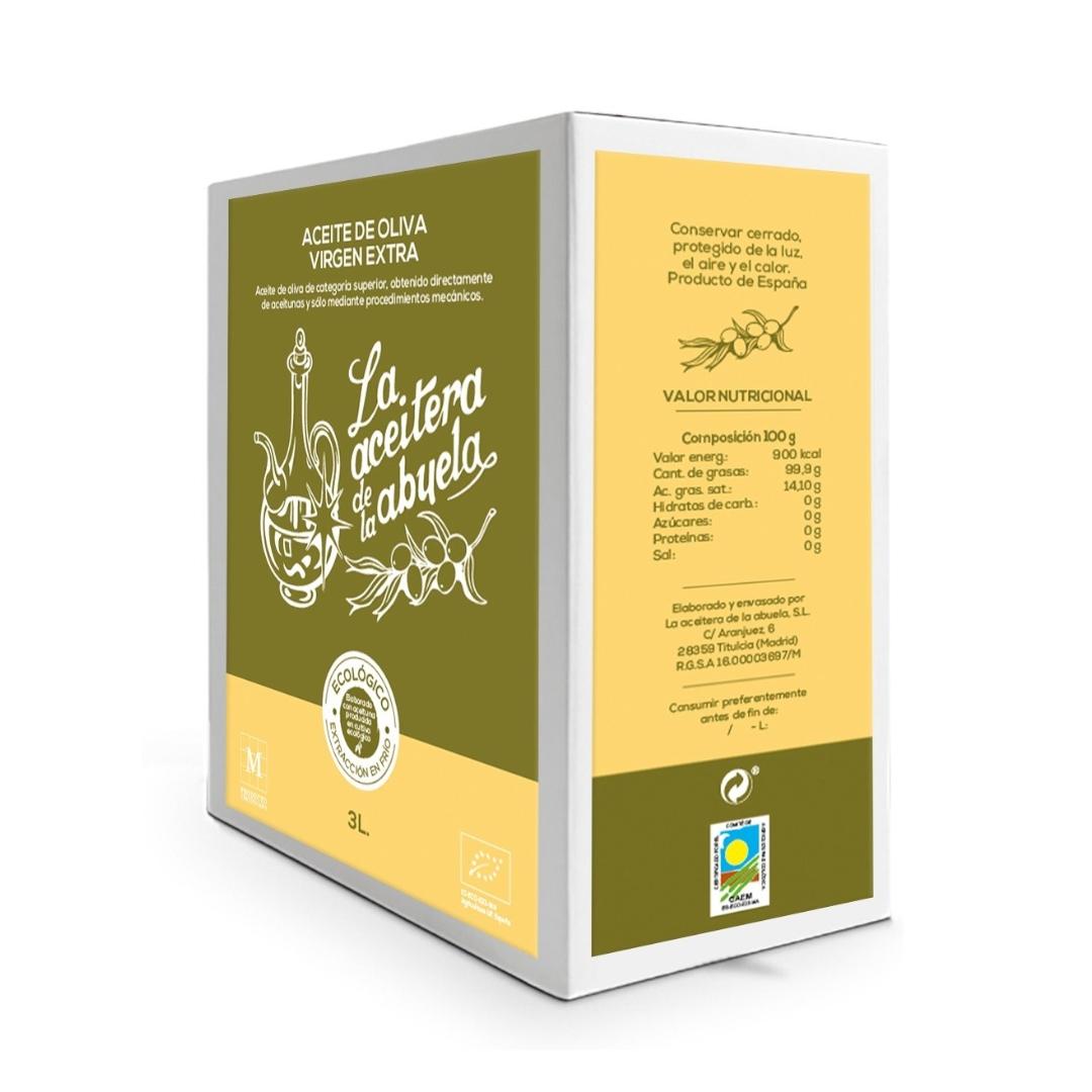 Andere Seite Bag in Box mit 3 Litern nativem Bio-Olivenöl extra Coupage