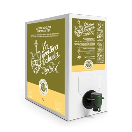 Bag in box of 3 liters of organic extra virgin olive oil Coupage
